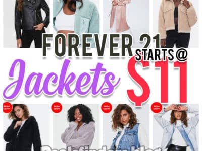 Forever 21: Jackets on sale!, starts at $11!