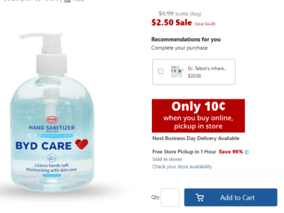 Hand Sanitizer ONLY 10¢ w/ FREE Pickup at Office Depot (Reg. $7)